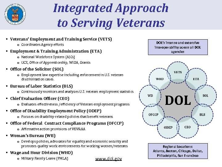 Integrated Approach to Serving Veterans § Veterans' Employment and Training Service (VETS) o Coordinates