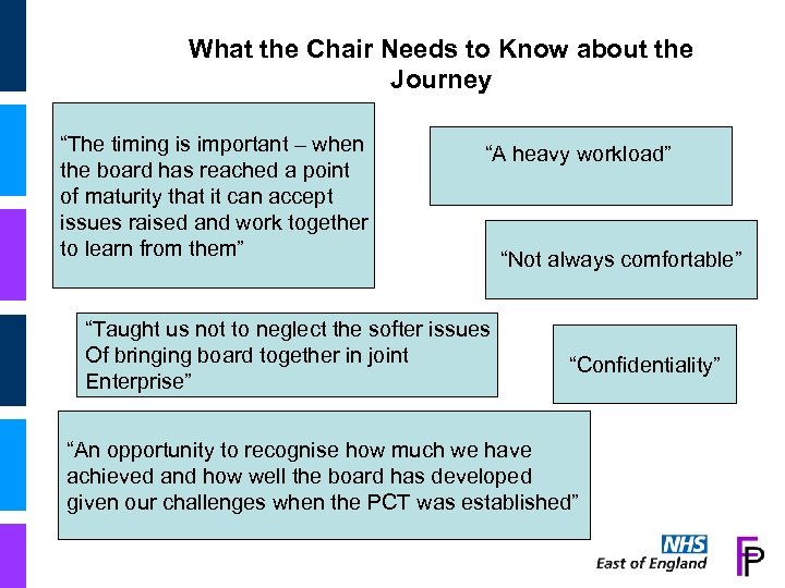 "What the Chair Needs to Know about the Journey ""The timing is important –"