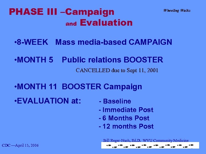 PHASE III –Campaign and Evaluation Wheeling Walks • 8 -WEEK Mass media-based CAMPAIGN •