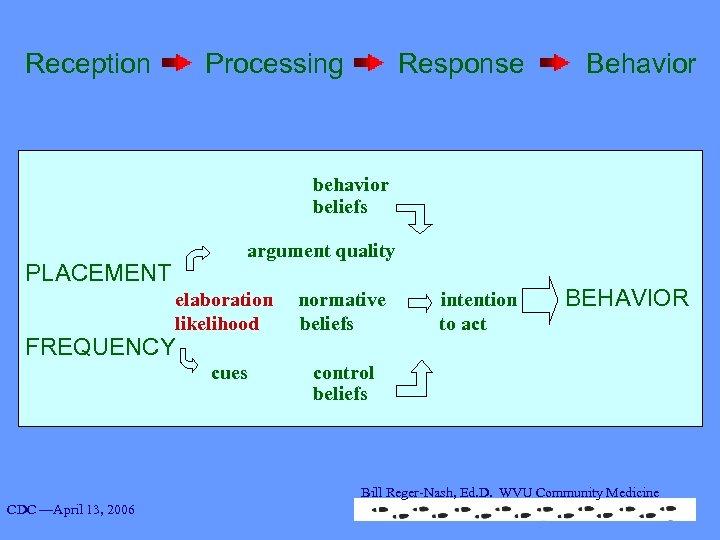 Reception Processing Response Behavior beliefs argument quality PLACEMENT elaboration normative intention BEHAVIOR likelihood beliefs