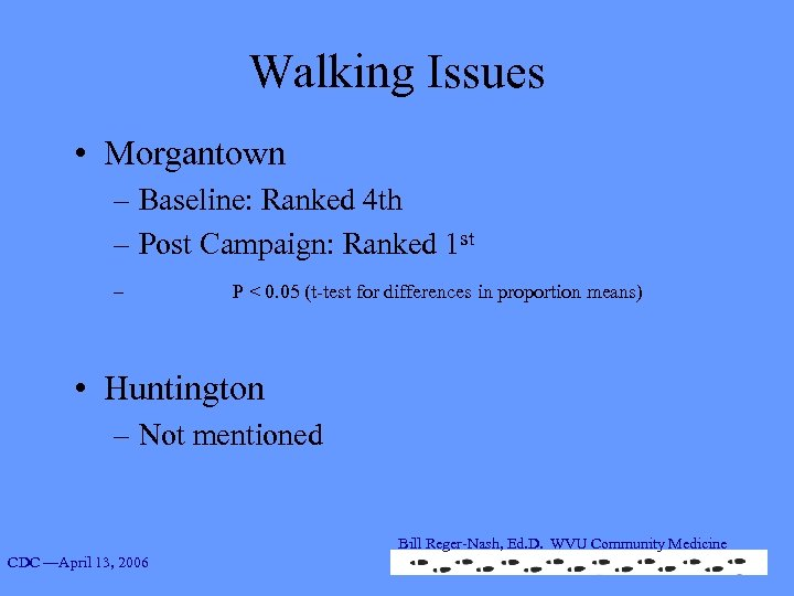 Walking Issues • Morgantown – Baseline: Ranked 4 th – Post Campaign: Ranked 1