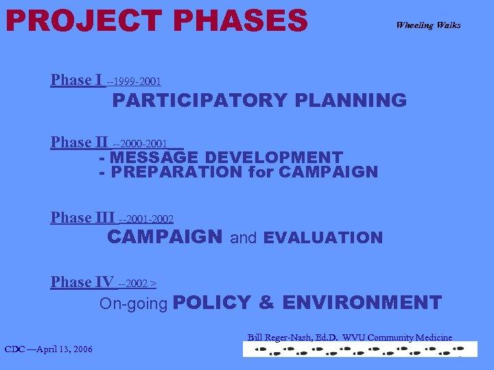 PROJECT PHASES Wheeling Walks Phase I --1999 -2001 PARTICIPATORY PLANNING Phase II --2000 -2001
