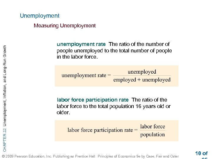 Unemployment CHAPTER 22 Unemployment, Inflation, and Long-Run Growth Measuring Unemployment unemployment rate The ratio