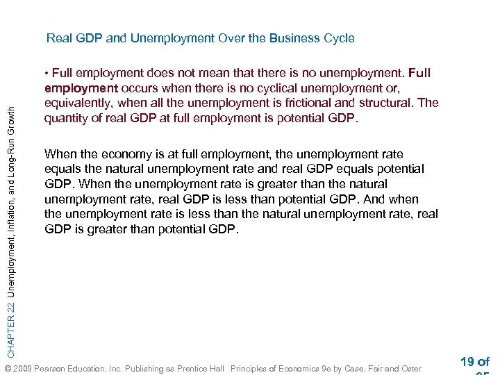 CHAPTER 22 Unemployment, Inflation, and Long-Run Growth Real GDP and Unemployment Over the Business