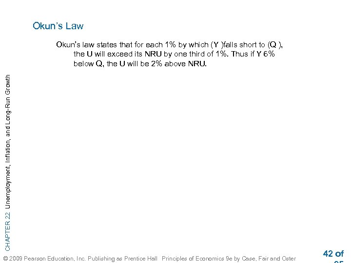 Okun's Law CHAPTER 22 Unemployment, Inflation, and Long-Run Growth Okun's law states that for