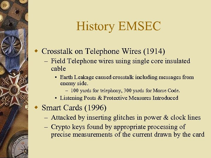History EMSEC w Crosstalk on Telephone Wires (1914) – Field Telephone wires usingle core