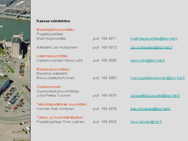 Kaavaa valmistelee Maankäytönsuunnittelu: Projektipäällikkö Matti Kaijansinkko puh. 169 4211 matti. kaijansinkko@ksv. hel. fi Arkkitehti