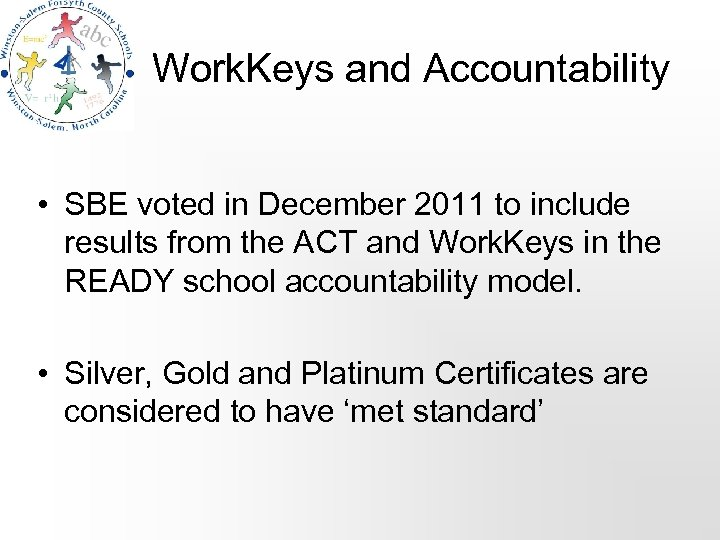 Work. Keys and Accountability • SBE voted in December 2011 to include results from