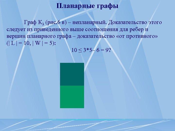 Планарные графы Граф К 3 (рис. 6 в) – непланарный. Доказательство этого следует из