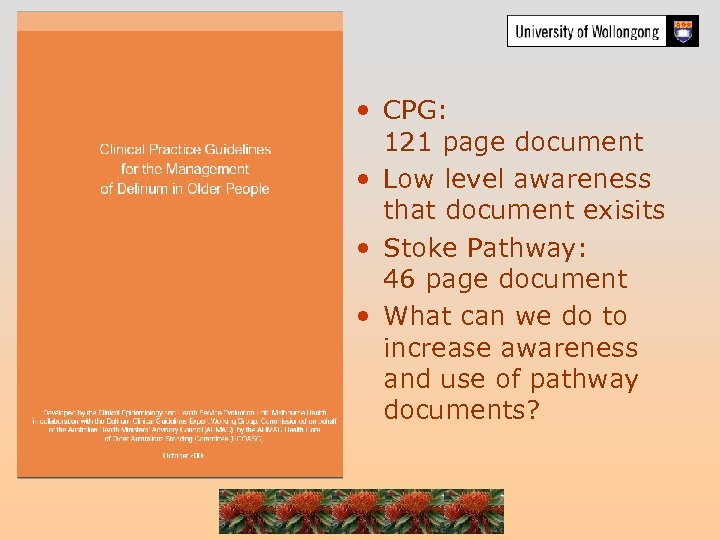 • CPG: 121 page document • Low level awareness that document exisits •
