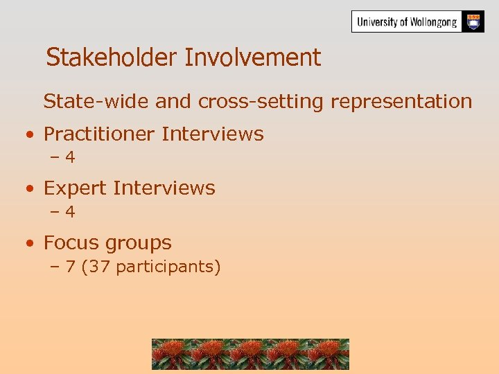 Stakeholder Involvement State-wide and cross-setting representation • Practitioner Interviews – 4 • Expert Interviews
