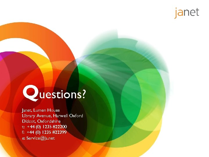 Questions? Janet, Lumen House Library Avenue, Harwell Oxford Didcot, Oxfordshire t: +44 (0) 1235