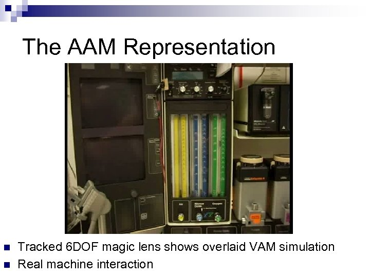 The AAM Representation n n Tracked 6 DOF magic lens shows overlaid VAM simulation