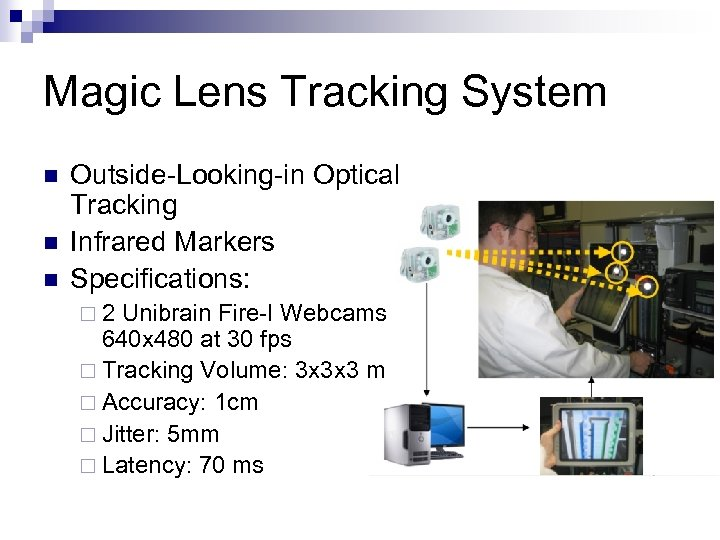 Magic Lens Tracking System n n n Outside-Looking-in Optical Tracking Infrared Markers Specifications: ¨