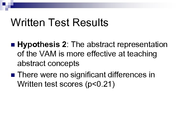 Written Test Results Hypothesis 2: The abstract representation of the VAM is more effective