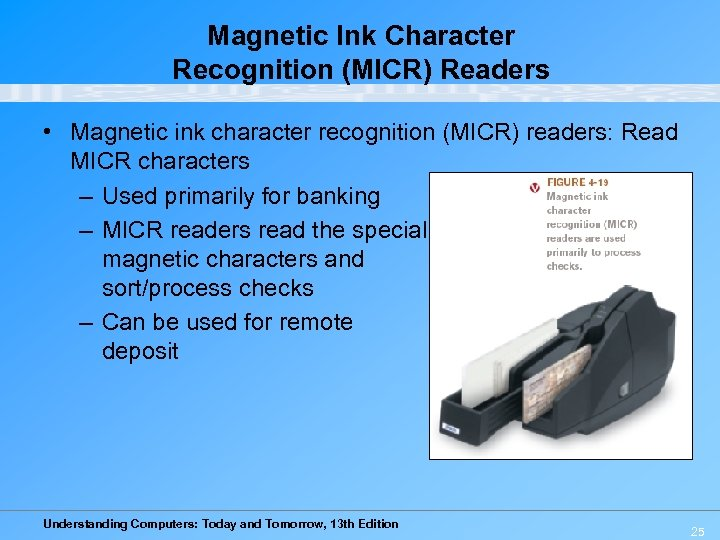 Magnetic Ink Character Recognition (MICR) Readers • Magnetic ink character recognition (MICR) readers: Read