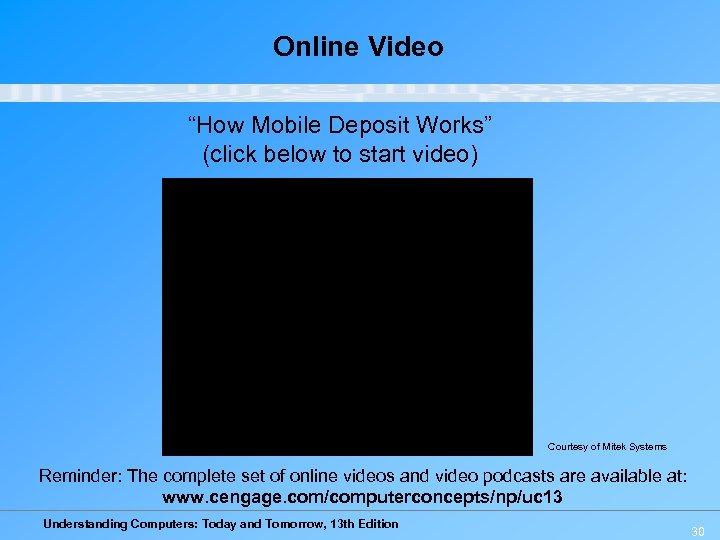 "Online Video ""How Mobile Deposit Works"" (click below to start video) Courtesy of Mitek"