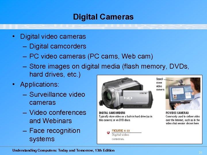 Digital Cameras • Digital video cameras – Digital camcorders – PC video cameras (PC