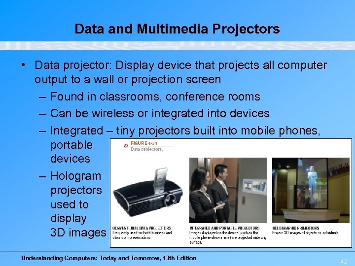 Data and Multimedia Projectors • Data projector: Display device that projects all computer output