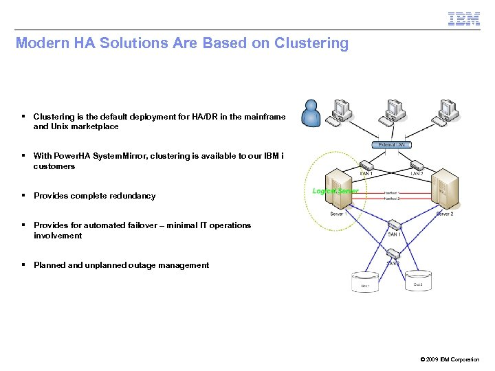 Modern HA Solutions Are Based on Clustering § Clustering is the default deployment for