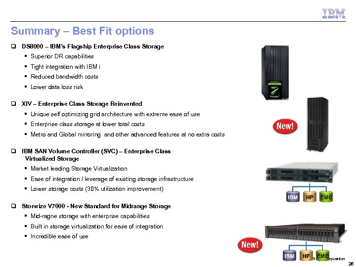 Summary – Best Fit options q DS 8000 – IBM's Flagship Enterprise Class Storage