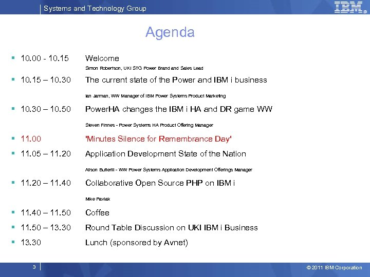 Systems and Technology Group Agenda § 10. 00 - 10. 15 Welcome Simon Robertson,