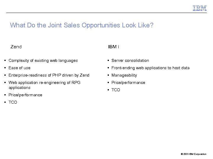 What Do the Joint Sales Opportunities Look Like? Zend IBM i § Complexity of