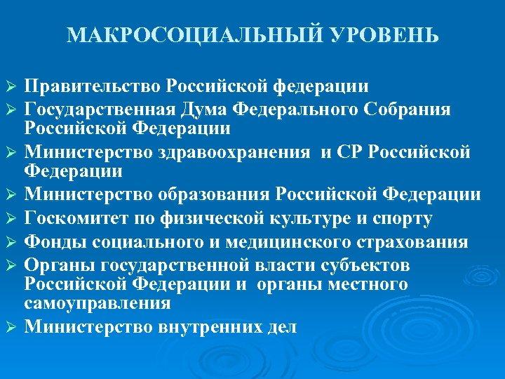 МАКРОСОЦИАЛЬНЫЙ УРОВЕНЬ Правительство Российской федерации Государственная Дума Федерального Собрания Российской Федерации Ø Министерство здравоохранения