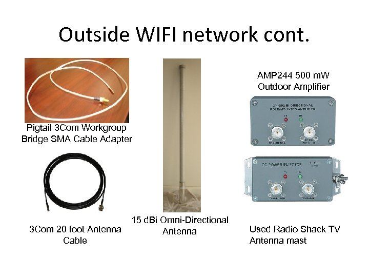 Outside WIFI network cont. AMP 244 500 m. W Outdoor Amplifier Pigtail 3 Com