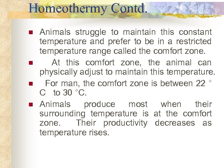 Homeothermy Contd. n n Animals struggle to maintain this constant temperature and prefer to