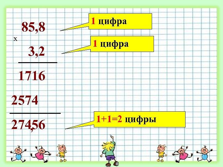 85, 8 х 3, 2 1 цифра 1716 2574 27456 , 1+1=2 цифры