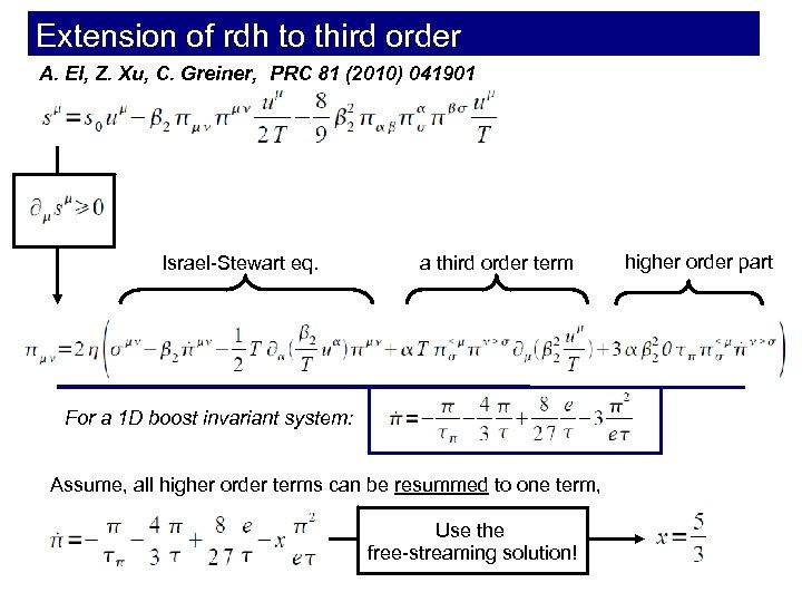 Extension of rdh to third order A. El, Z. Xu, C. Greiner, PRC 81