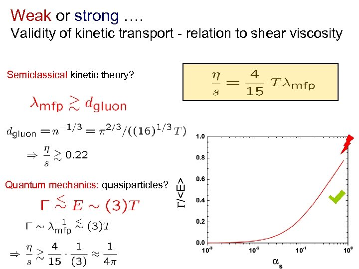 Weak or strong …. Validity of kinetic transport - relation to shear viscosity Semiclassical