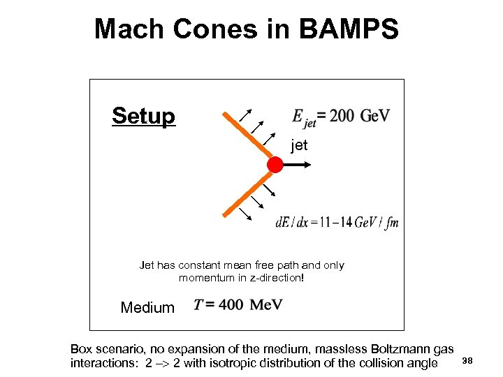 Mach Cones in BAMPS Setup jet Jet has constant mean free path and only