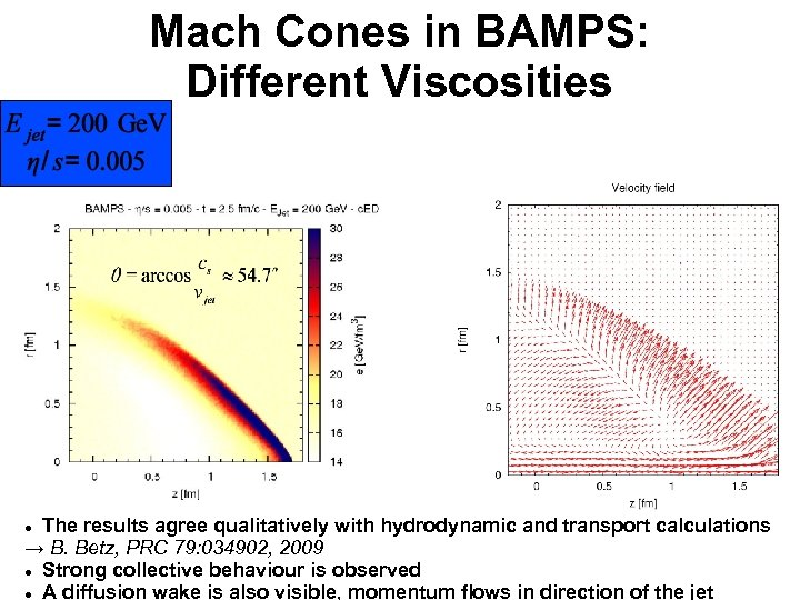 Mach Cones in BAMPS: Different Viscosities The results agree qualitatively with hydrodynamic and transport