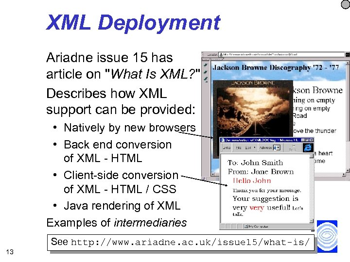 XML Deployment Ariadne issue 15 has article on