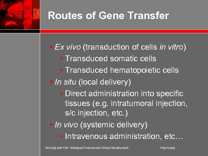 Routes of Gene Transfer § Ex vivo (transduction of cells in vitro) • Transduced