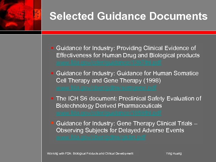 Selected Guidance Documents § Guidance for Industry: Providing Clinical Evidence of Effectiveness for Human