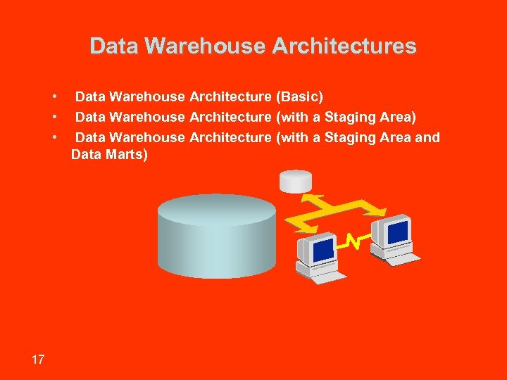 Data Warehouse Architectures • • • 17 Data Warehouse Architecture (Basic) Data Warehouse Architecture