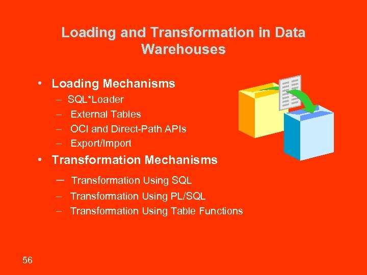 Loading and Transformation in Data Warehouses • Loading Mechanisms – – SQL*Loader External Tables