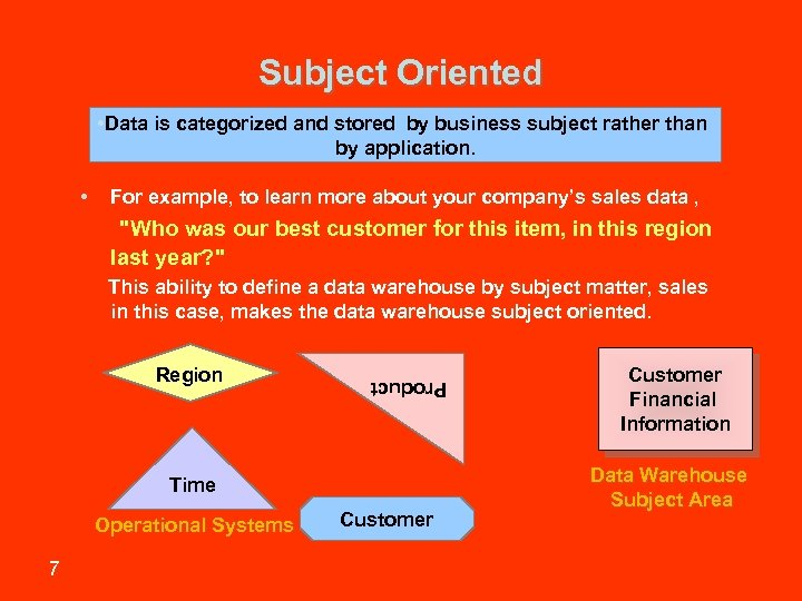 Subject Oriented • Data is categorized and stored by business subject rather than by
