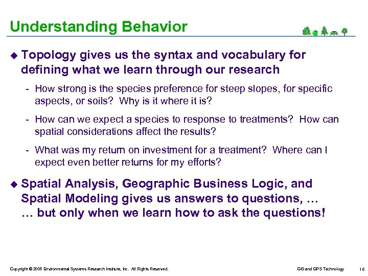 Understanding Behavior u Topology gives us the syntax and vocabulary for defining what we