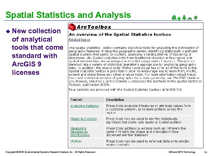 Spatial Statistics and Analysis u New collection of analytical tools that come standard with