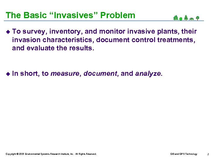 "The Basic ""Invasives"" Problem u To survey, inventory, and monitor invasive plants, their invasion"