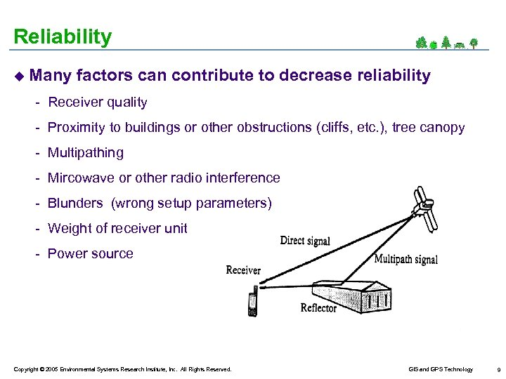 Reliability u Many factors can contribute to decrease reliability - Receiver quality - Proximity