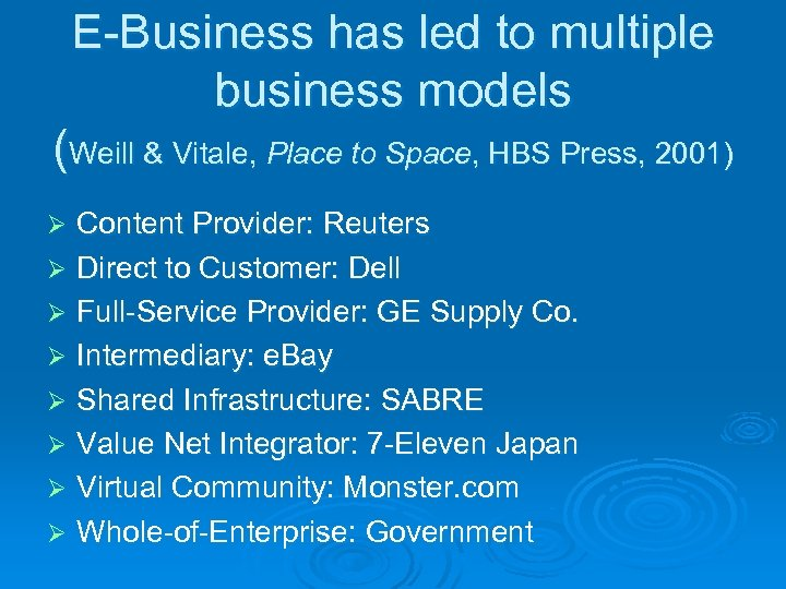 E-Business has led to multiple business models (Weill & Vitale, Place to Space, HBS
