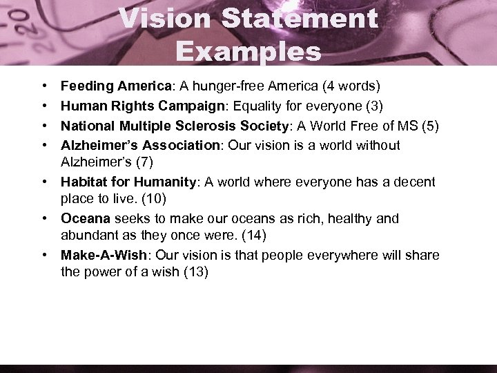 Vision Statement Examples • • Feeding America: A hunger-free America (4 words) Human Rights