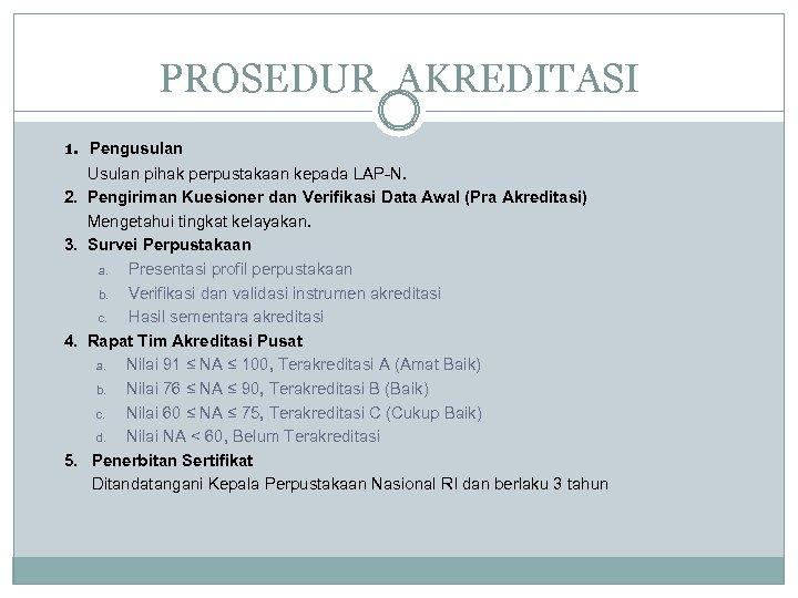 PROSEDUR AKREDITASI 1. Pengusulan Usulan pihak perpustakaan kepada LAP-N. 2. Pengiriman Kuesioner dan Verifikasi