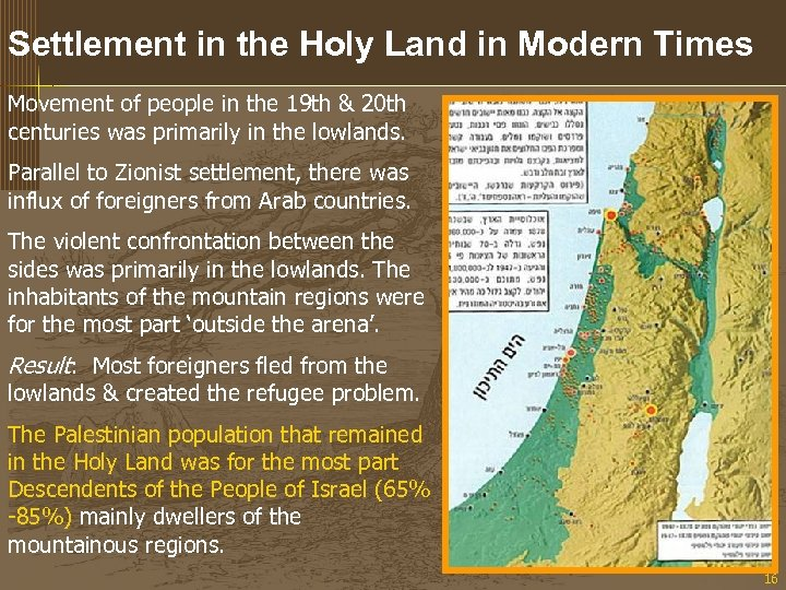Settlement in the Holy Land in Modern Times Movement of people in the 19