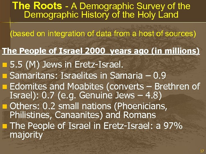 The Roots - A Demographic Survey of the Demographic History of the Holy Land